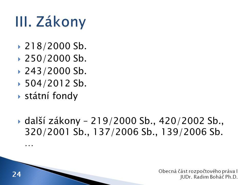  218/2000 Sb.  250/2000 Sb.  243/2000 Sb.  504/2012 Sb.