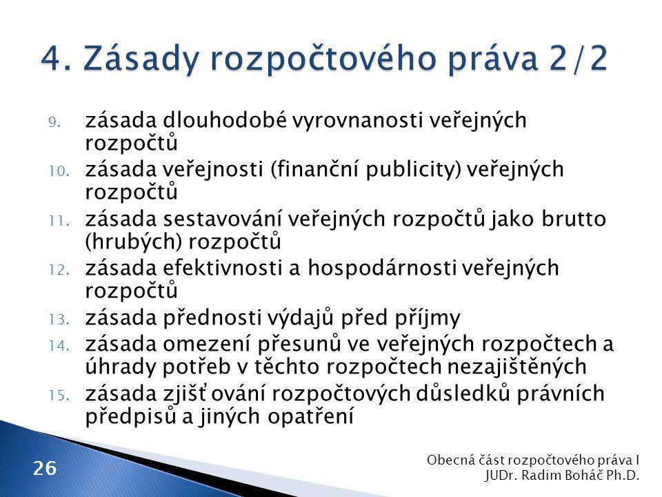 9. zásada dlouhodobé vyrovnanosti veřejných rozpočtů 10.