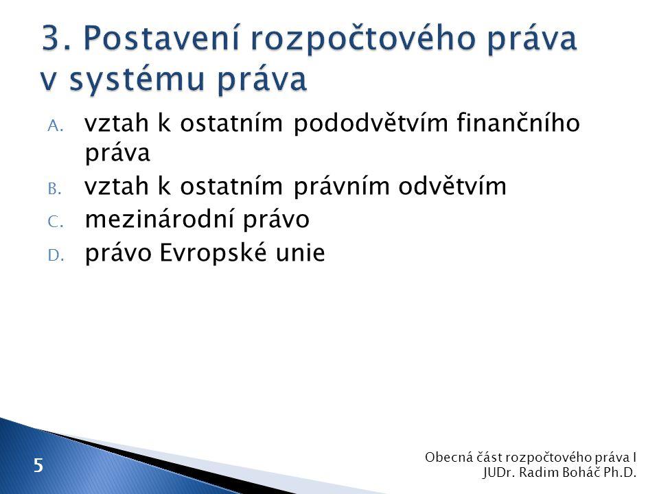  daňové právo (právo daní, poplatků a jiných obdobných peněžitých plnění)  úvěrové právo  měnové a devizové právo Obecná část rozpočtového práva I JUDr.