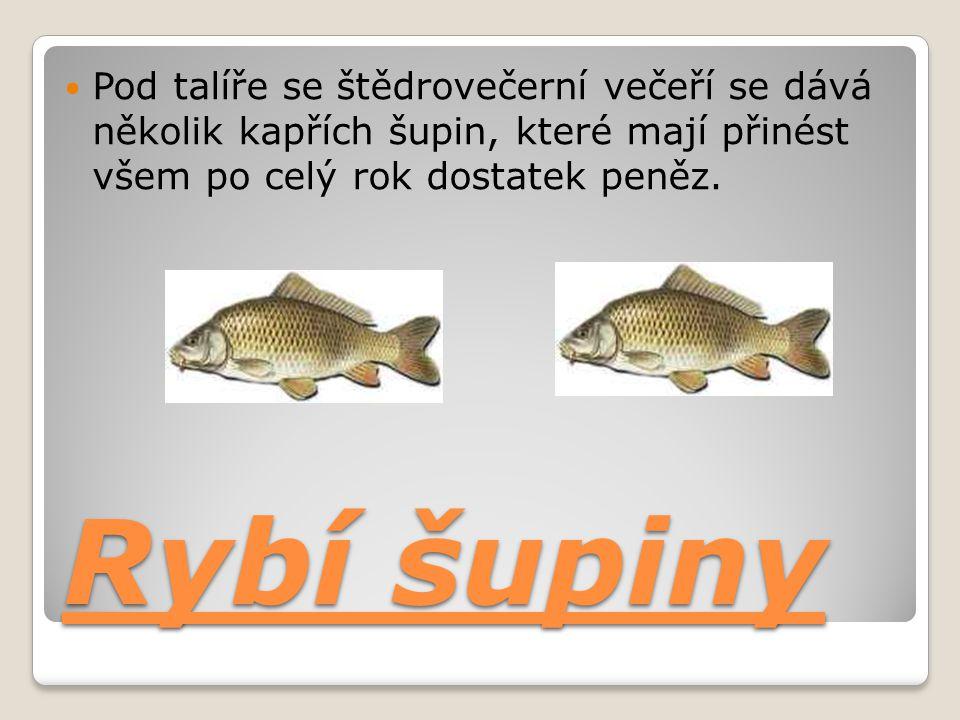 Rybí šupiny Pod talíře se štědrovečerní večeří se dává několik kapřích šupin, které mají přinést všem po celý rok dostatek peněz.
