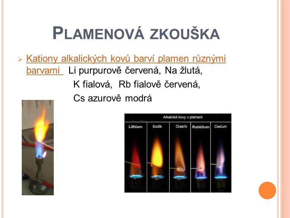 P LAMENOVÁ ZKOUŠKA  Kationy alkalických kovů barví plamen různými barvami Li purpurově červená, Na žlutá, Kationy alkalických kovů barví plamen různý