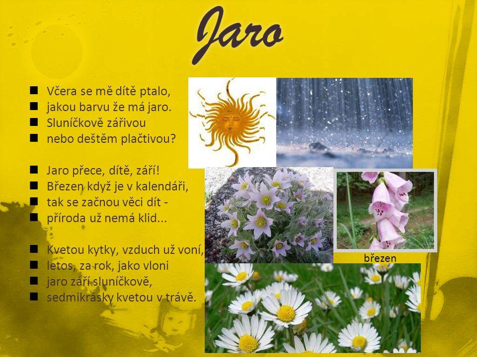 Včera se mě dítě ptalo, jakou barvu že má jaro. Sluníčkově zářivou nebo deštěm plačtivou? Jaro přece, dítě, září! Březen když je v kalendáři, tak se z