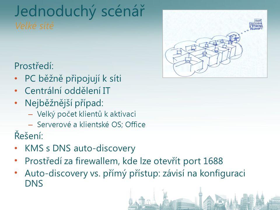 Jednoduchý scénář Velké sítě Prostředí: PC běžně připojují k síti Centrální oddělení IT Nejběžnější případ: – Velký počet klientů k aktivaci – Servero