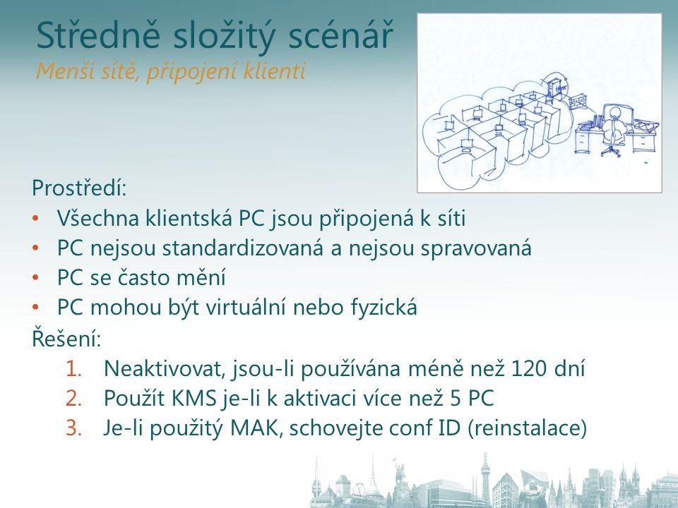Středně složitý scénář Menší sítě, připojení klienti Prostředí: Všechna klientská PC jsou připojená k síti PC nejsou standardizovaná a nejsou spravova