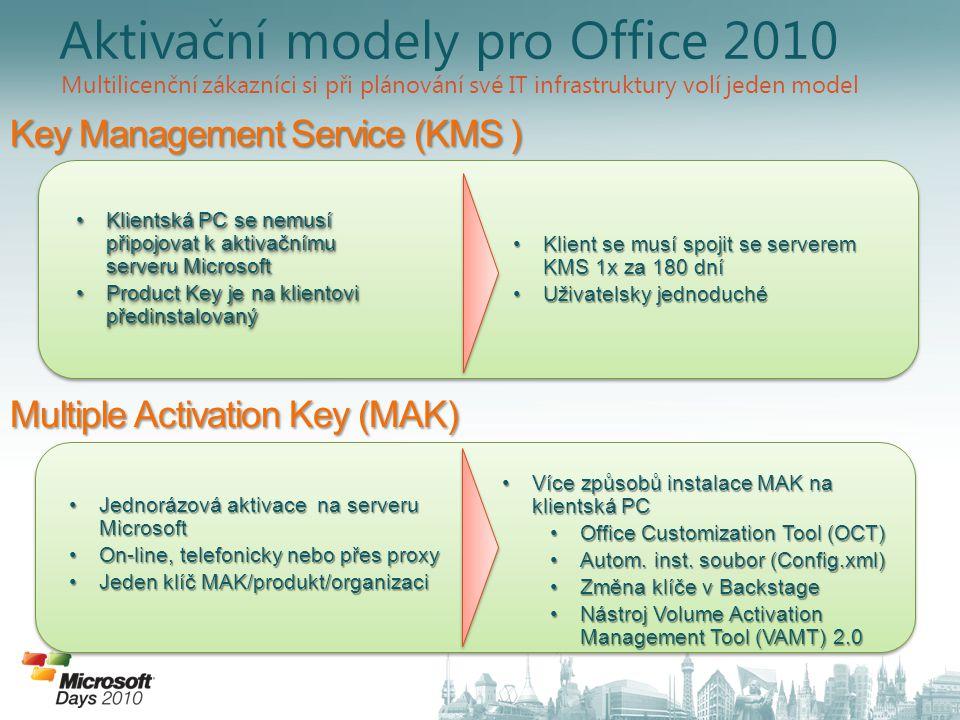 Klientská PC se nemusí připojovat k aktivačnímu serveru Microsoft Klientská PC se nemusí připojovat k aktivačnímu serveru Microsoft Product Key je na