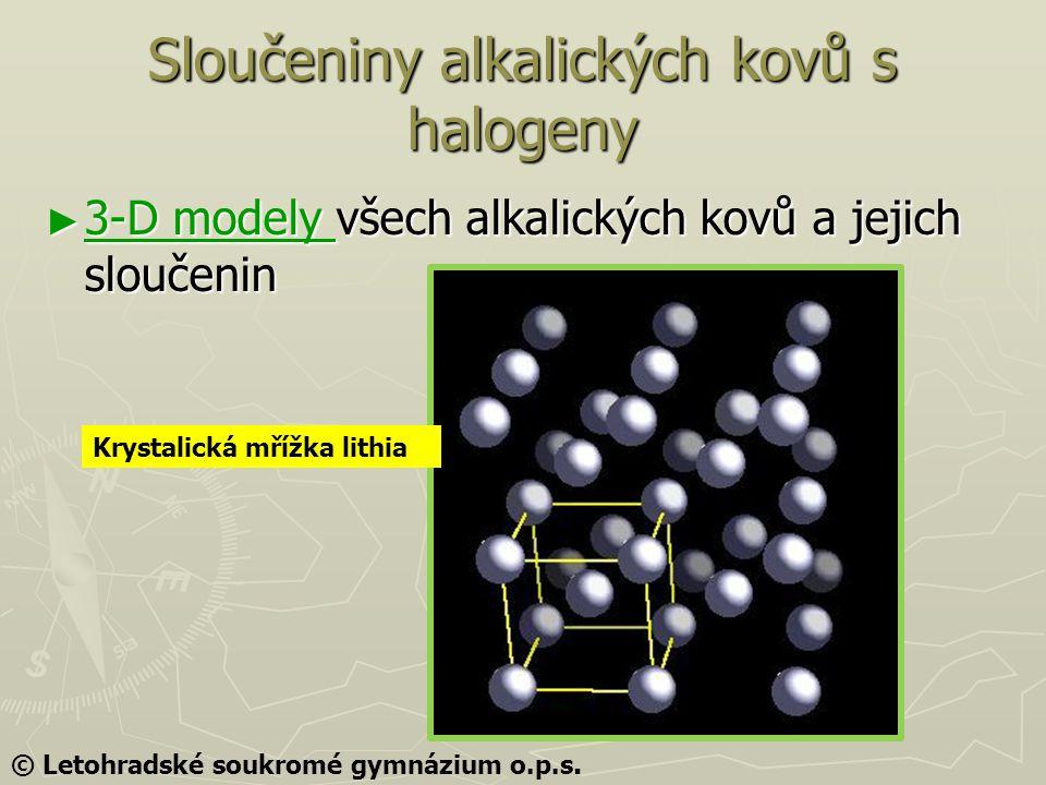Sloučeniny alkalických kovů s halogeny ► 3-D modely všech alkalických kovů a jejich sloučenin 3-D modely 3-D modely Krystalická mřížka lithia © Letohr