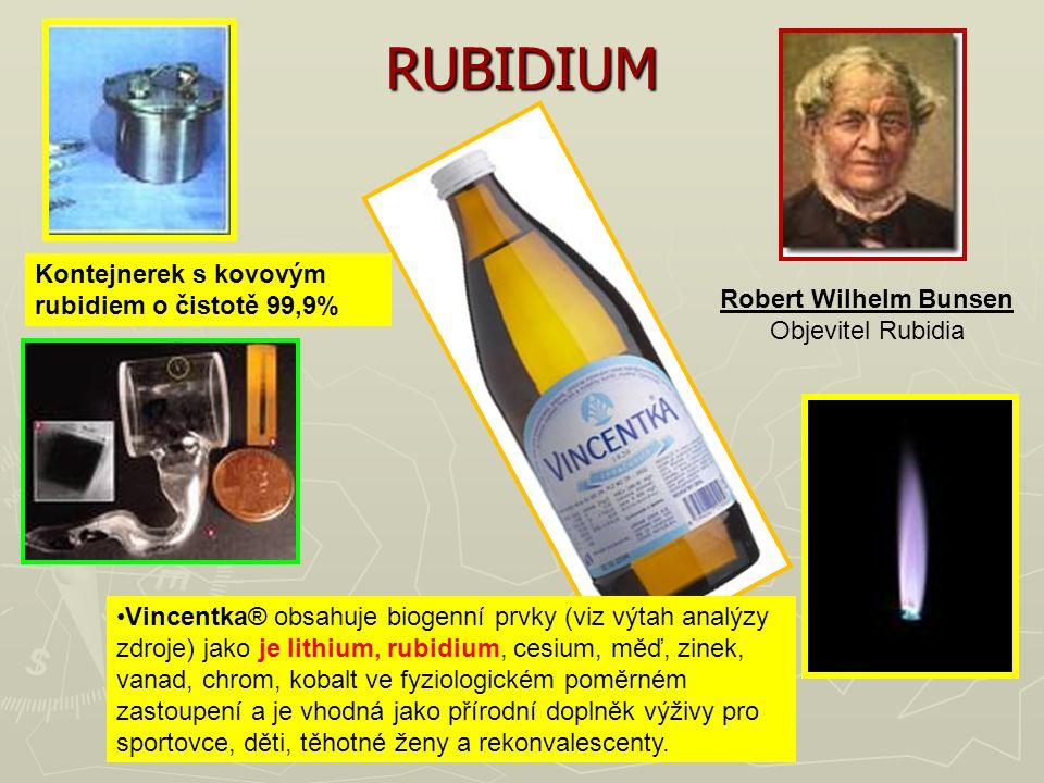 RUBIDIUM Kontejnerek s kovovým rubidiem o čistotě 99,9% Vincentka® obsahuje biogenní prvky (viz výtah analýzy zdroje) jako je lithium, rubidium, cesiu