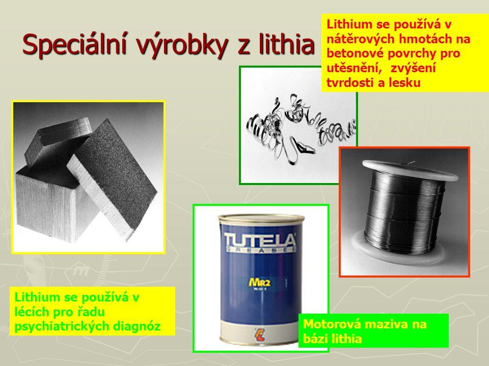 Speciální výrobky z lithia Motorová maziva na bázi lithia Lithium se používá v lécích pro řadu psychiatrických diagnóz Lithium se používá v nátěrových