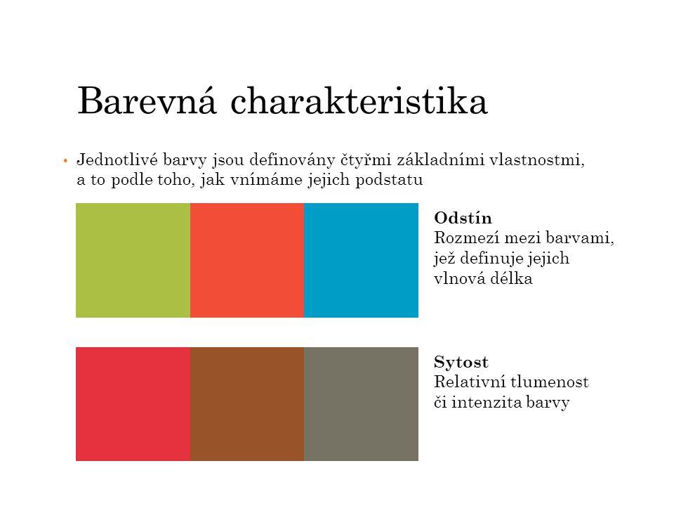 Barevná charakteristika Jednotlivé barvy jsou definovány čtyřmi základními vlastnostmi, a to podle toho, jak vnímáme jejich podstatu Teplota barvy Emoce, které máme spojeny s různými barvami, vytvářejí dojem barev teplých a studených Jas i světlost barvy Vyjadřuje, jak moc světlá či naopak tmavá se barva jeví