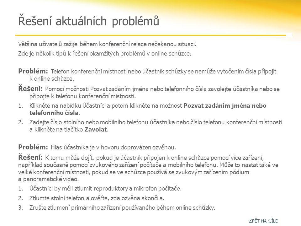 Řešení aktuálních problémů Většina uživatelů zažije během konferenční relace nečekanou situaci.