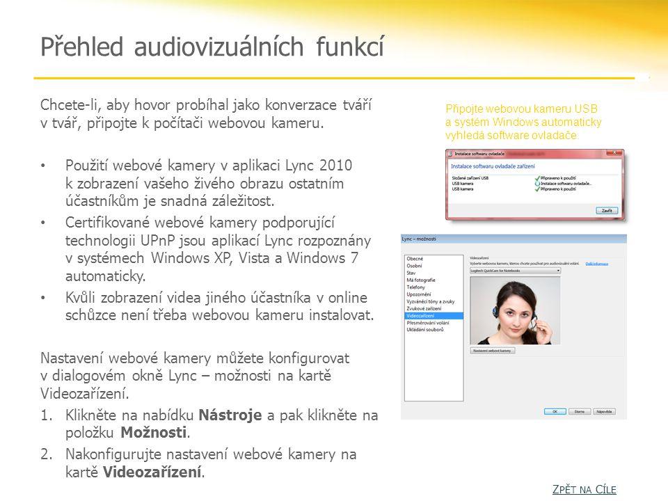 Přehled audiovizuálních funkcí Chcete-li, aby hovor probíhal jako konverzace tváří v tvář, připojte k počítači webovou kameru.