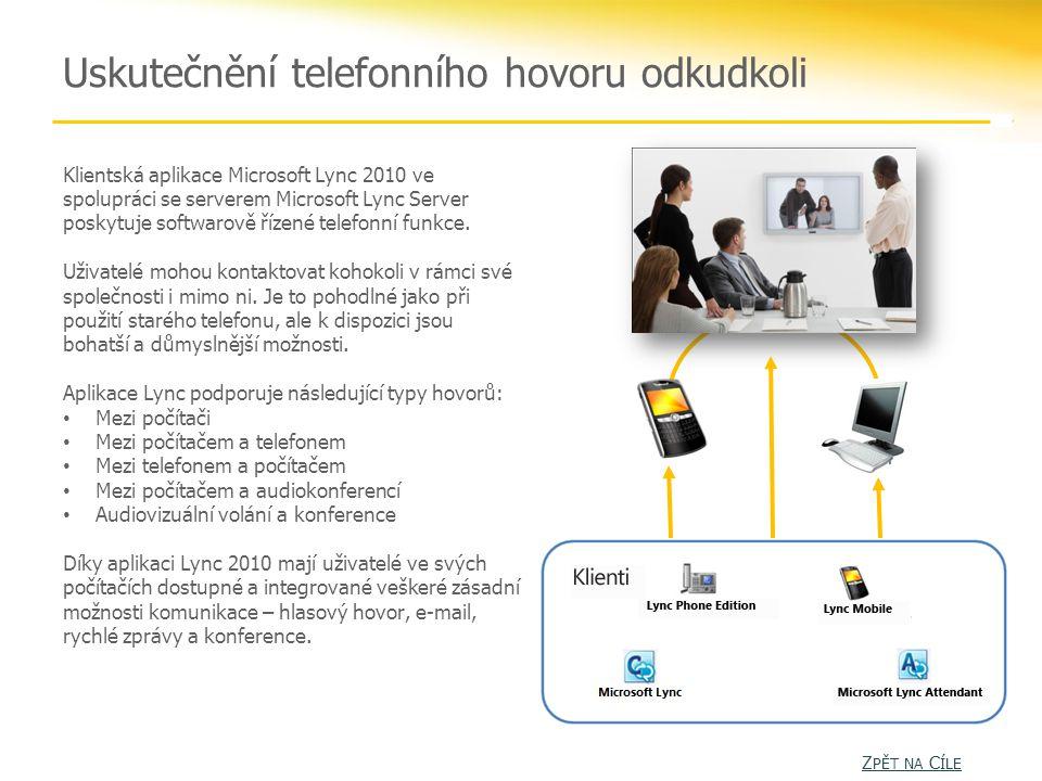 Uskutečnění telefonního hovoru odkudkoli Klientská aplikace Microsoft Lync 2010 ve spolupráci se serverem Microsoft Lync Server poskytuje softwarově řízené telefonní funkce.