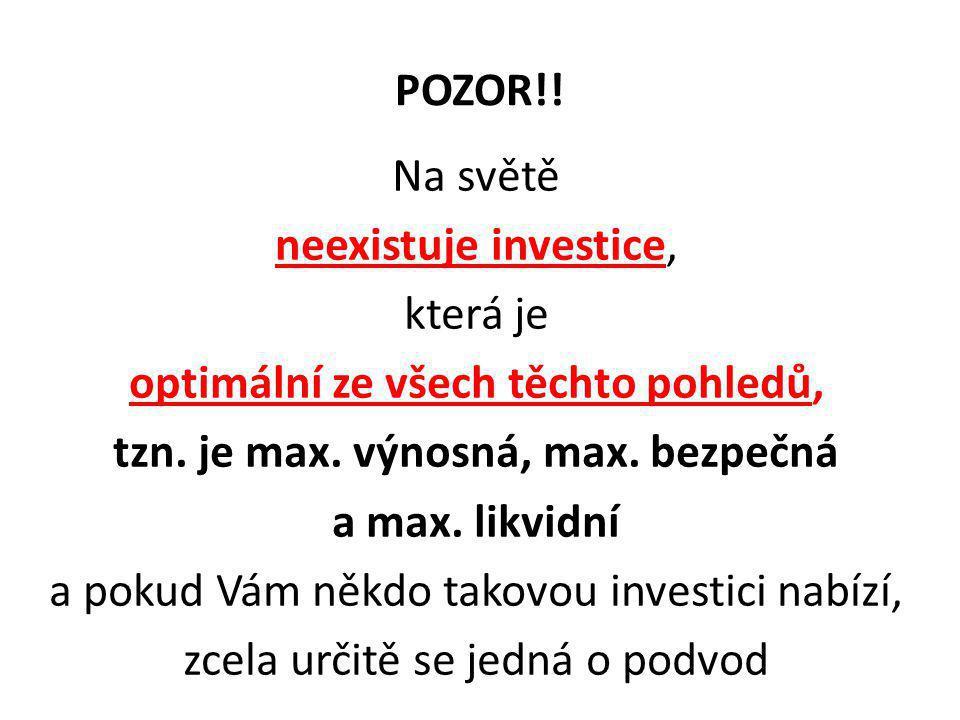 POZOR!! Na světě neexistuje investice, která je optimální ze všech těchto pohledů, tzn. je max. výnosná, max. bezpečná a max. likvidní a pokud Vám něk