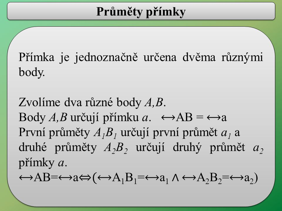 Průměty přímky Přímka je jednoznačně určena dvěma různými body.