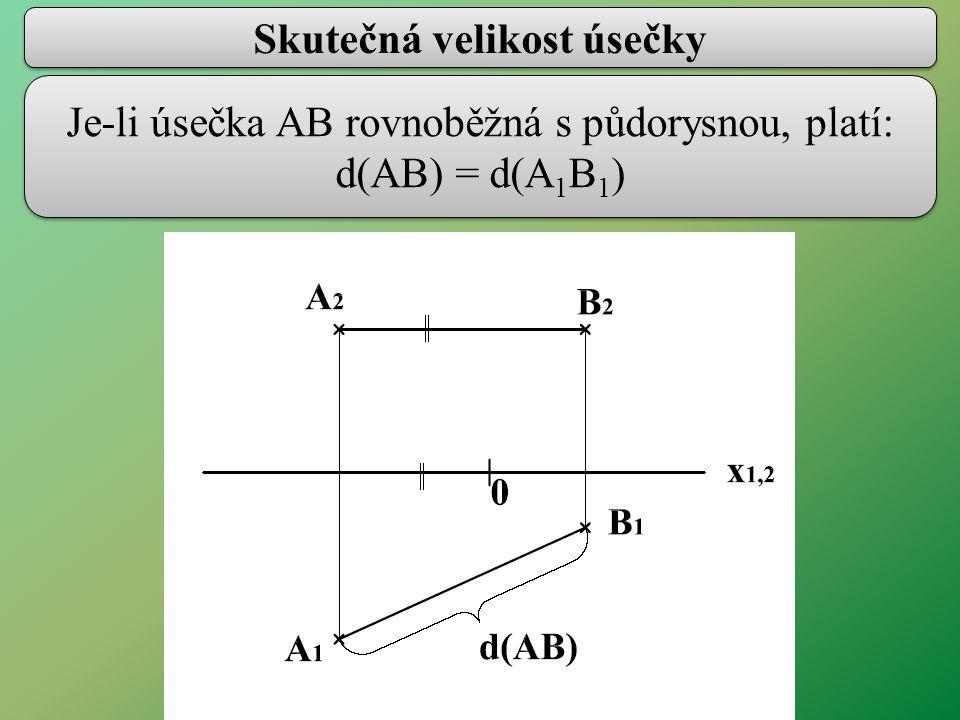 Skutečná velikost úsečky Je-li úsečka AB rovnoběžná s půdorysnou, platí: d(AB) = d(A 1 B 1 )