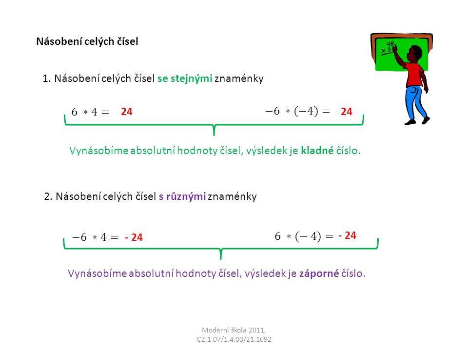Moderní škola 2011, CZ.1.07/1.4.00/21.1692 Násobení celých čísel 1. Násobení celých čísel se stejnými znaménky Vynásobíme absolutní hodnoty čísel, výs