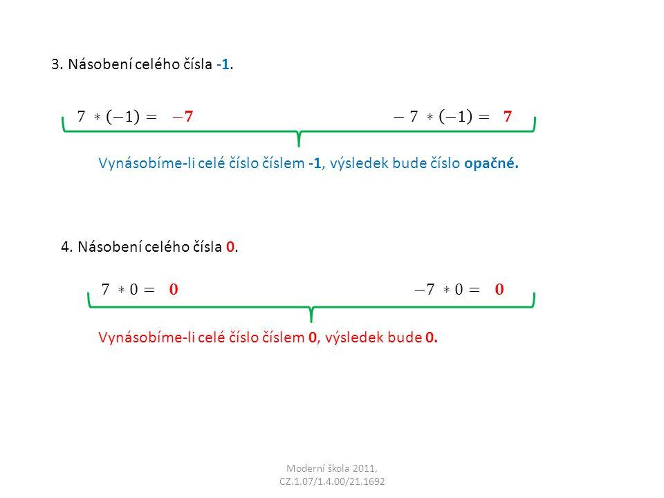 Moderní škola 2011, CZ.1.07/1.4.00/21.1692 3. Násobení celého čísla -1. Vynásobíme-li celé číslo číslem -1, výsledek bude číslo opačné. 4. Násobení ce