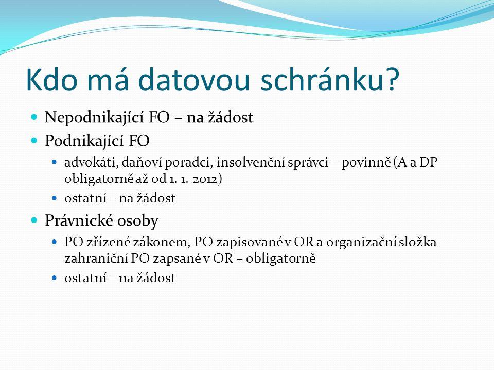 Kdo má datovou schránku? Nepodnikající FO – na žádost Podnikající FO advokáti, daňoví poradci, insolvenční správci – povinně (A a DP obligatorně až od