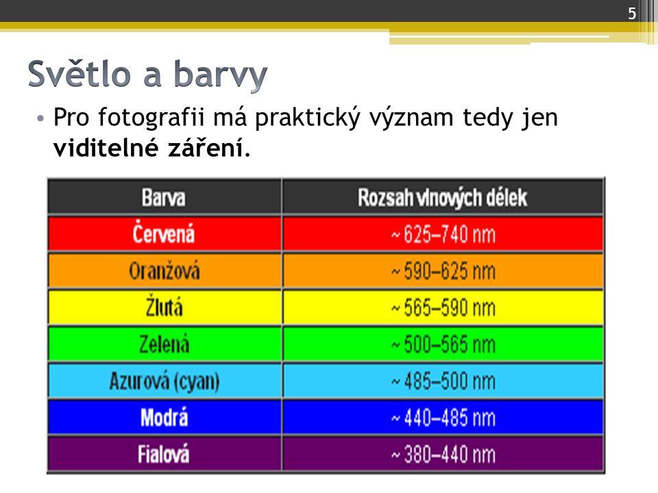 Pro fotografii má praktický význam tedy jen viditelné záření. 5