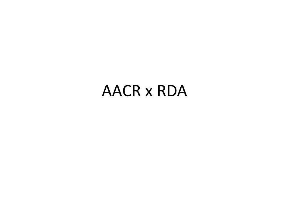 RDA nahrazují AACR2R vycházejí z FRBR a FRAD (FRBR – funkční požadavky na bibliografické záznamy (Functional Requirements for Bibliographic Records) RDA a MARC 21 OK RDA a UNIMARC KO do 31.