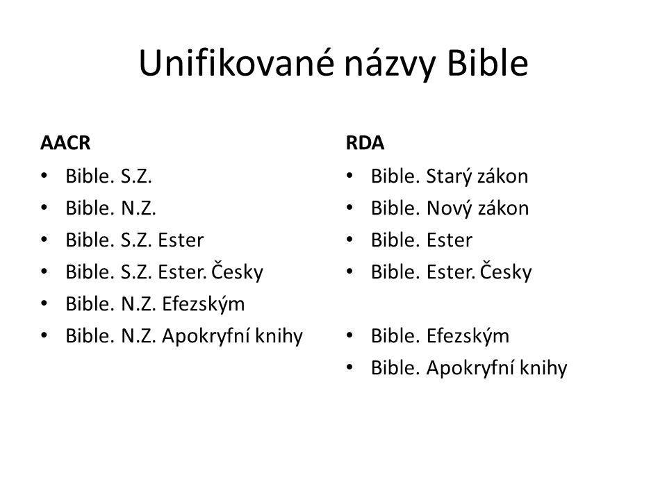 Unifikované názvy Bible AACR Bible. S.Z. Bible. N.Z. Bible. S.Z. Ester Bible. S.Z. Ester. Česky Bible. N.Z. Efezským Bible. N.Z. Apokryfní knihy RDA B