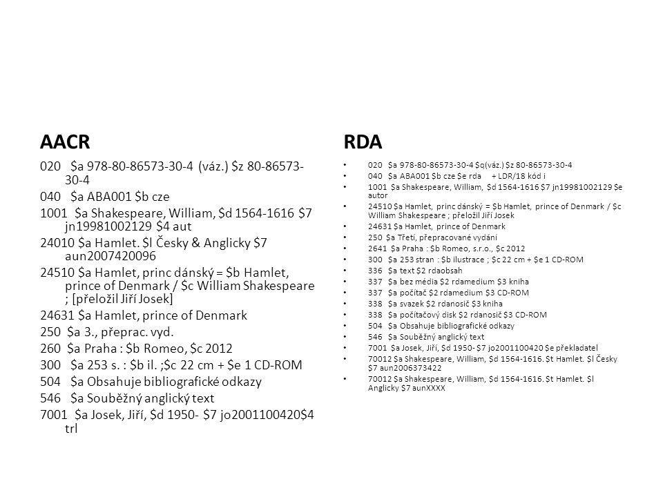 Unifikované názvy Bible AACR Bible.S.Z. Bible. N.Z.