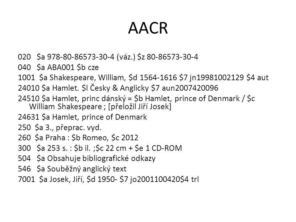 RDA 020 $a 978-80-86573-30-4 $q(váz.) $z 80-86573-30-4 040 $a ABA001 $b cze $e rda + LDR/18 kód i 1001 $a Shakespeare, William, $d 1564-1616 $7 jn19981002129 $e autor 24510 $a Hamlet, princ dánský = $b Hamlet, prince of Denmark / $c William Shakespeare ; přeložil Jiří Josek 24631 $a Hamlet, prince of Denmark 250 $a Třetí, přepracované vydání 2641 $a Praha : $b Romeo, s.r.o., $c 2012 300 $a 253 stran : $b ilustrace ; $c 22 cm + $e 1 CD-ROM 336 $a text $2 rdaobsah 337 $a bez média $2 rdamedium $3 kniha 337 $a počítač $2 rdamedium $3 CD-ROM 338 $a svazek $2 rdanosič $3 kniha 338 $a počítačový disk $2 rdanosič $3 CD-ROM 504 $a Obsahuje bibliografické odkazy 546 $a Souběžný anglický text 7001 $a Josek, Jiří, $d 1950- $7 jo2001100420 $e překladatel 70012 $a Shakespeare, William, $d 1564-1616.