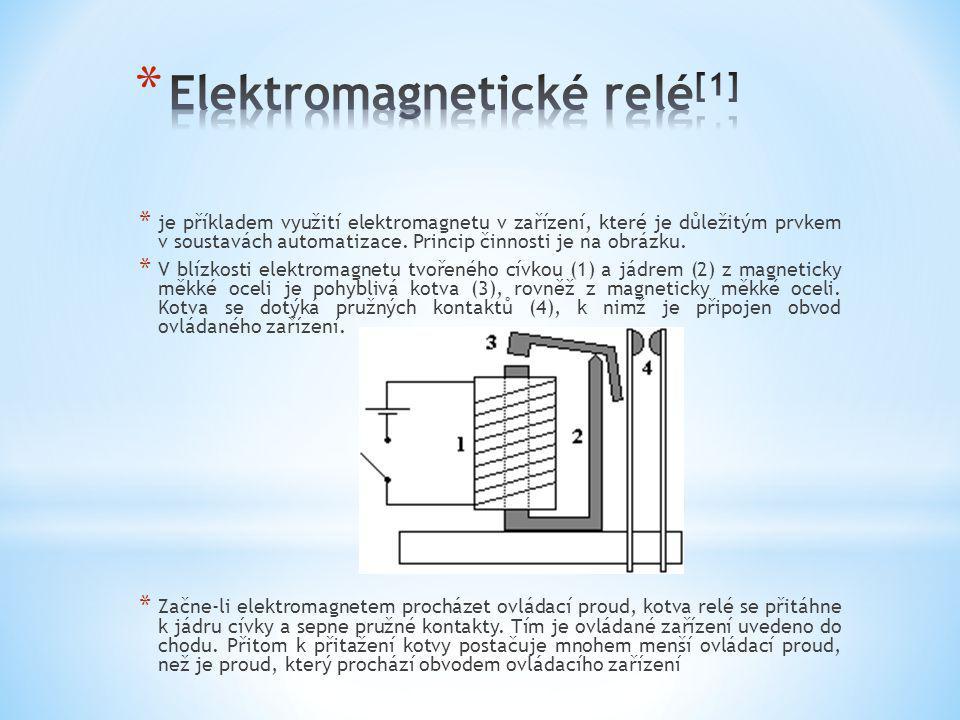 * je příkladem využití elektromagnetu v zařízení, které je důležitým prvkem v soustavách automatizace. Princip činnosti je na obrázku. * V blízkosti e