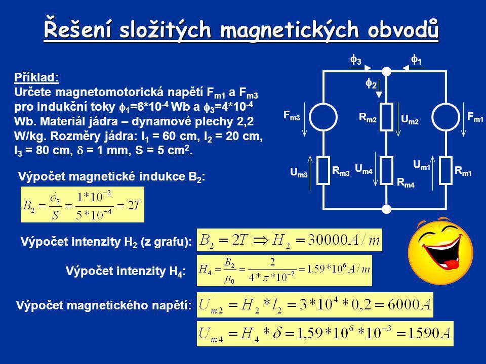 Řešení složitých magnetických obvodů F m3 R m3 R m1 R m4 R m2 F m1 U m3 U m1 U m2 U m4 33 11 22 Příklad: Určete magnetomotorická napětí F m1 a F