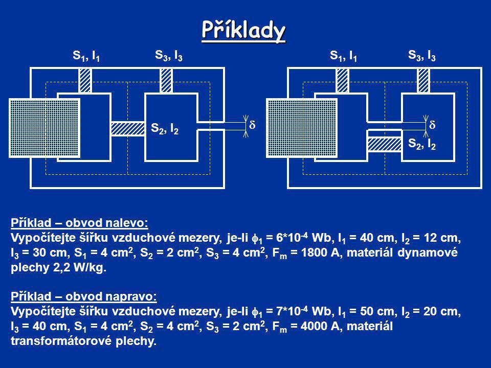 Příklady Příklad – obvod nalevo: Vypočítejte šířku vzduchové mezery, je-li  1 = 6*10 -4 Wb, l 1 = 40 cm, l 2 = 12 cm, l 3 = 30 cm, S 1 = 4 cm 2, S 2