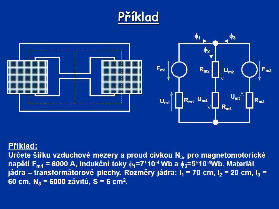 Příklad F m1 R m1 R m3 R m4 R m2 F m3 U m1 U m3 U m2 U m4 11 33 22 Příklad: Určete šířku vzduchové mezery a proud cívkou N 3, pro magnetomotoric