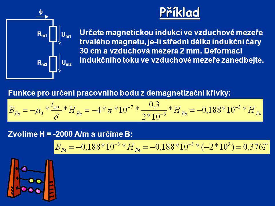 Příklad R m2 R m1 U m2 U m1  Funkce pro určení pracovního bodu z demagnetizační křivky: Určete magnetickou indukci ve vzduchové mezeře trvalého magne