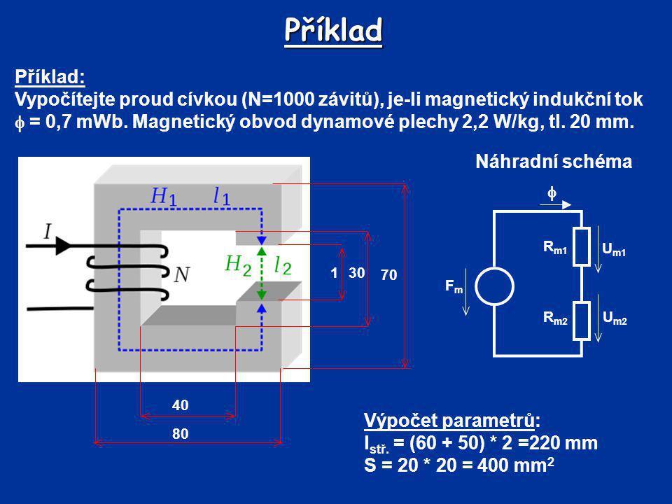 Příklad Příklad: Vypočítejte proud cívkou (N=1000 závitů), je-li magnetický indukční tok  = 0,7 mWb. Magnetický obvod dynamové plechy 2,2 W/kg, tl. 2
