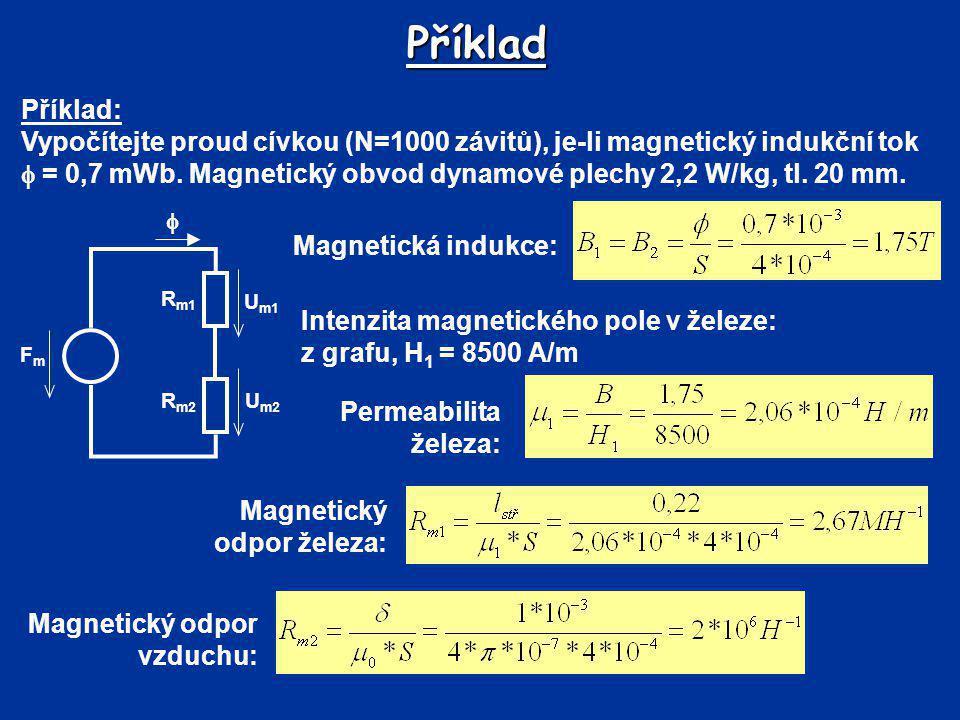 Příklad Celkový magnetický odpor: FmFm R m2 R m1 U m2 U m1  Magnetometrické napětí podle Hopkinsonova zákona: Porovnání se zadanou hodnotou – F m 1500 A  F mA Zvolený indukční tok Volíme B B = B 1 = B 2 = 1,3 TH 1 = 1000 A/m Permeabilita železa: Magnetický odpor železa:
