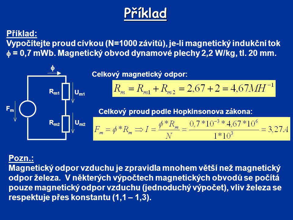Příklad Celkový magnetický odpor: FmFm R m2 R m1 U m2 U m1  Magnetometrické napětí podle Hopkinsonova zákona: Zvolený indukční tok F mB = 1284F mA = 1695  B = 6,5 F m = 1500  A = 7,5  = 7,05  (mWb) F m (A)