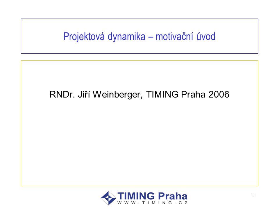 1 Projektová dynamika – motivační úvod RNDr. Jiří Weinberger, TIMING Praha 2006
