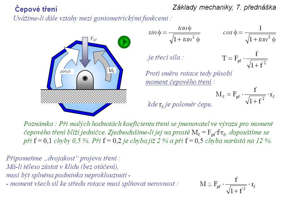 Základy mechaniky, 7. přednáška Uvážíme-li dále vztahy mezi goniometrickými funkcemi : Čepové tření je třecí síla : Proti směru rotace tedy působí mom