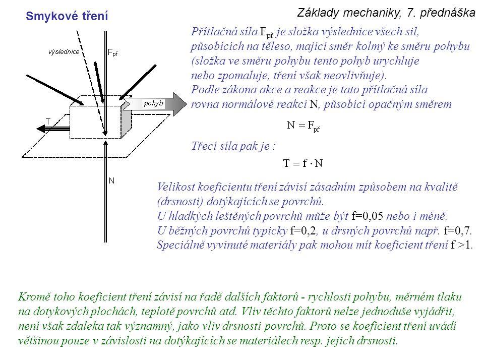 Základy mechaniky, 7. přednáška Smykové tření Přítlačná síla F př je složka výslednice všech sil, působících na těleso, mající směr kolmý ke směru poh