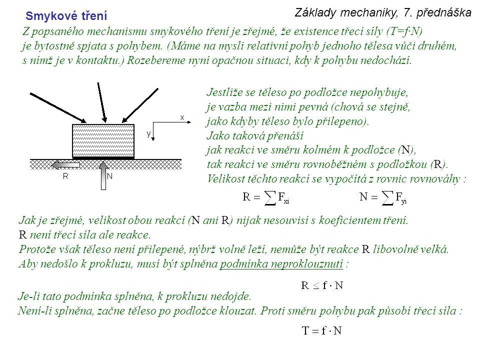 Základy mechaniky, 7. přednáška Smykové tření Z popsaného mechanismu smykového tření je zřejmé, že existence třecí síly (T=f·N) je bytostně spjata s p