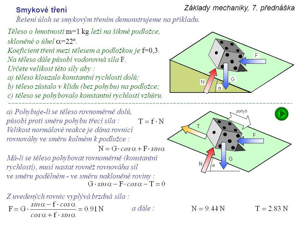 Základy mechaniky, 7. přednáška Smykové tření Řešení úloh se smykovým třením demonstrujeme na příkladu. Těleso o hmotnosti m=1 kg leží na šikmé podlož