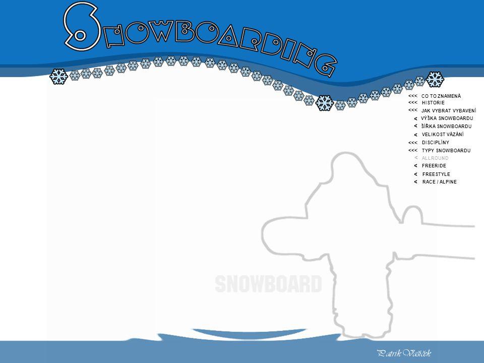 <<< < CO TO ZNAMENÁ HISTORIE JAK VYBRAT VYBAVENÍ VÝŠKA SNOWBOARDU ŠÍŘKA SNOWBOARDU VELIKOST VÁZÁNÍ DISCIPLÍNY TYPY SNOWBOARDU ALLROUND FREERIDE FREESTYLE RACE / ALPINE <<< < < < < < <