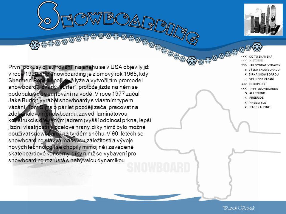 """< CO TO ZNAMENÁ HISTORIE JAK VYBRAT VYBAVENÍ VÝŠKA SNOWBOARDU ŠÍŘKA SNOWBOARDU VELIKOST VÁZÁNÍ DISCIPLÍNY TYPY SNOWBOARDU ALLROUND FREERIDE FREESTYLE RACE / ALPINE <<< < < < < < < První pokusy o """"surfování na sněhu se v USA objevily již v roce 1920."""