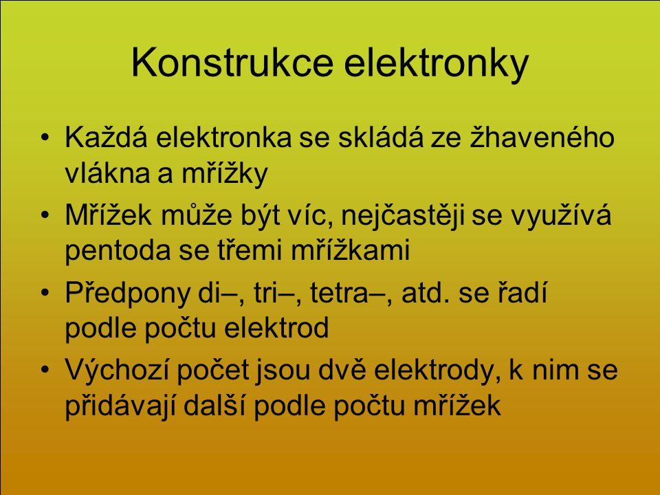 Konstrukce elektronky Každá elektronka se skládá ze žhaveného vlákna a mřížky Mřížek může být víc, nejčastěji se využívá pentoda se třemi mřížkami Předpony di–, tri–, tetra–, atd.