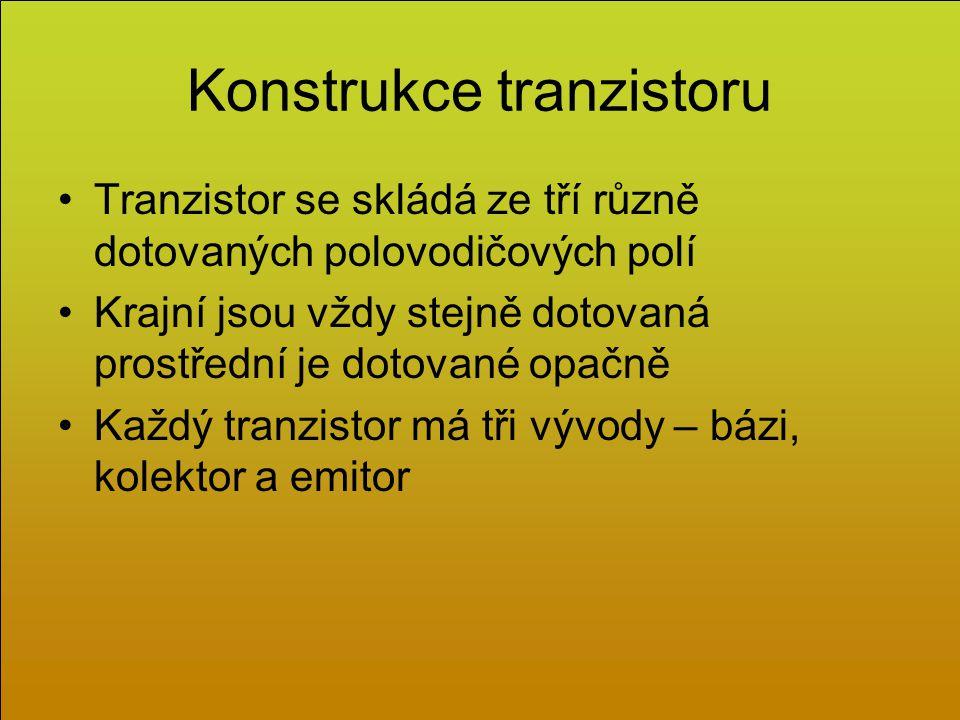 Konstrukce tranzistoru Tranzistor se skládá ze tří různě dotovaných polovodičových polí Krajní jsou vždy stejně dotovaná prostřední je dotované opačně Každý tranzistor má tři vývody – bázi, kolektor a emitor