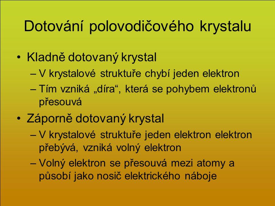 """Dotování polovodičového krystalu Kladně dotovaný krystal –V krystalové struktuře chybí jeden elektron –Tím vzniká """"díra , která se pohybem elektronů přesouvá Záporně dotovaný krystal –V krystalové struktuře jeden elektron elektron přebývá, vzniká volný elektron –Volný elektron se přesouvá mezi atomy a působí jako nosič elektrického náboje"""
