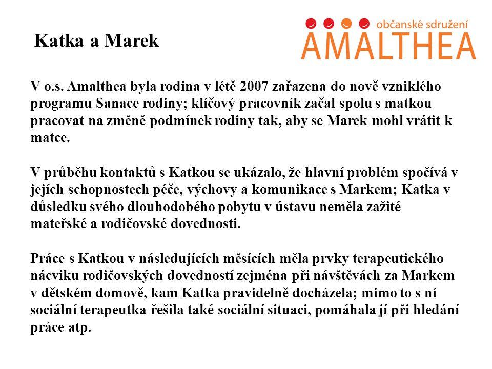 V o.s. Amalthea byla rodina v létě 2007 zařazena do nově vzniklého programu Sanace rodiny; klíčový pracovník začal spolu s matkou pracovat na změně po