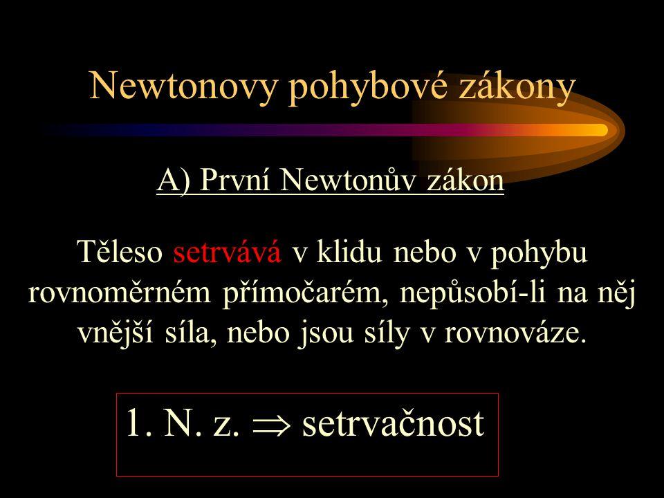 A) První Newtonův zákon Newtonovy pohybové zákony Těleso setrvává v klidu nebo v pohybu rovnoměrném přímočarém, nepůsobí-li na něj vnější síla, nebo j