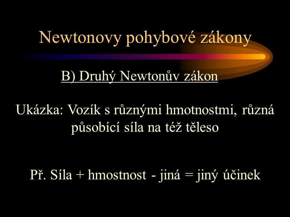 B) Druhý Newtonův zákon Newtonovy pohybové zákony Ukázka: Vozík s různými hmotnostmi, různá působící síla na též těleso Př. Síla + hmostnost - jiná =