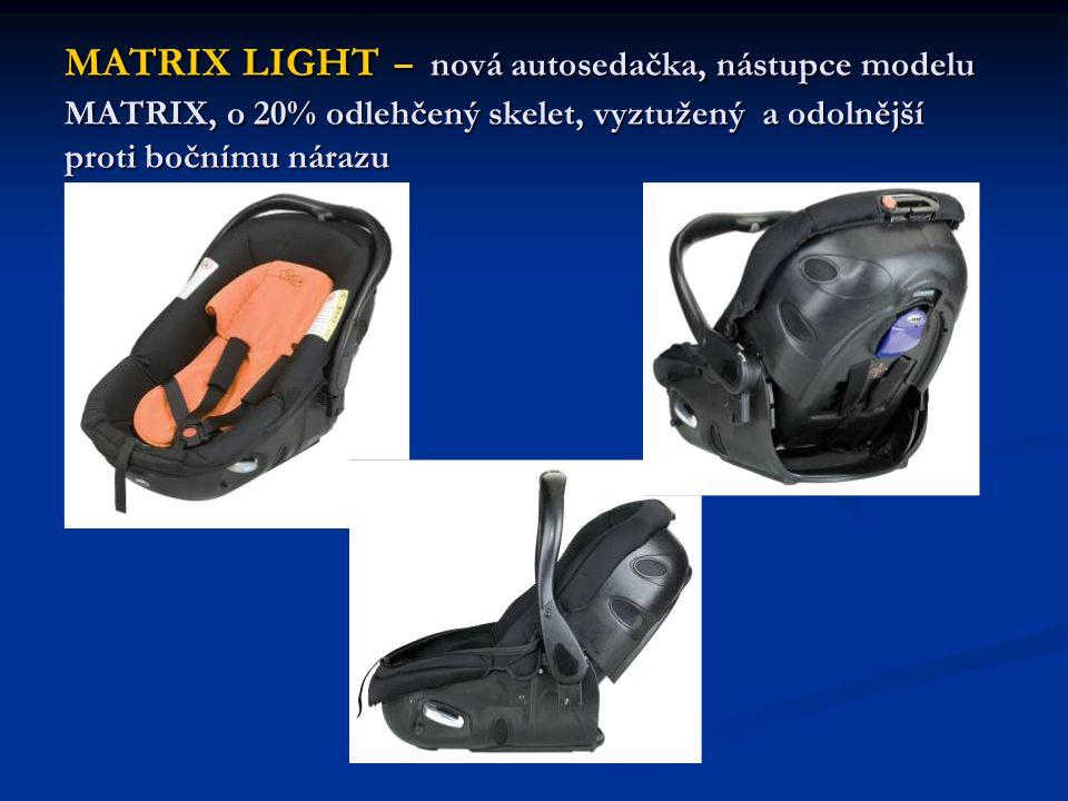 MATRIX LIGHT – nová autosedačka, nástupce modelu MATRIX, o 20% odlehčený skelet, vyztužený a odolnější proti bočnímu nárazu