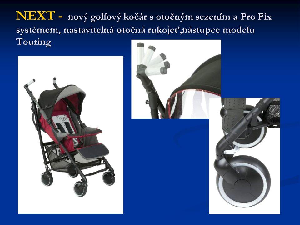 NEXT - nový golfový kočár s otočným sezením a Pro Fix systémem, nastavitelná otočná rukojeť,nástupce modelu Touring